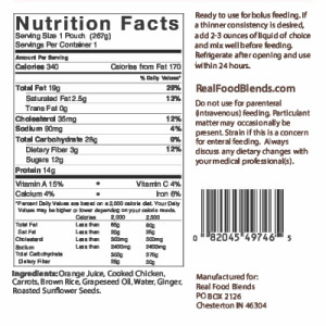 Orange Chicken, Carrots & Brown Rice Nutrition Facts