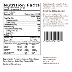 Real Food Blends Salmon, Oats & Squash Nutrition Facts