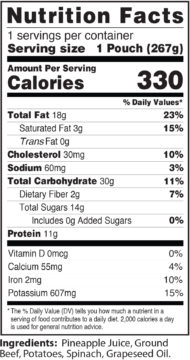 RFB Beef Nutrition Label